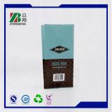 Flache Unterseiten-mit Reißverschluss Aluminiumfolie-Kaffee-verpackenbeutel mit Ventil