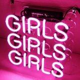 Rosa neón 3 niñas Stand Pub Club Bar cartel de neón de la cerveza de vidrio