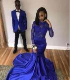 Reizvolle königliches Blau-Nixe-Partei-Kleid-lange Hülsen-Abend-Kleid-Frauen