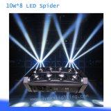 De lichtstraal die van de spin RGB Hoofd LEIDENE 10W 8 bewegen