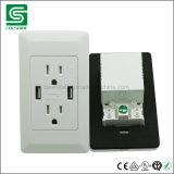 Выход стенной розетки USB американского стандарта двухшпиндельный электрический с ETL