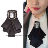 Jewelry (BR-18)를 위한 여자 Handmade Crystal Black Pink Satin Ribbon Bow Necktie Bowknot Shirt Tie Clips Brooch