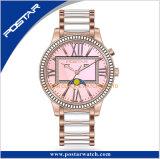 De nieuwe Horloges van de Dames van de Diamant van de Fase van de Maan met de Band van het Roestvrij staal
