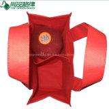 Saco não tecido reusável vermelho relativo à promoção do presente do vinho do Tote do frasco do Polypropylene 2 dos PP