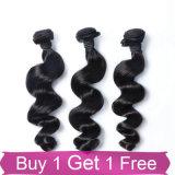 厚い端の自然で加工されていない卸し売りブラジルの人間の毛髪の織り方