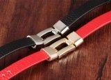 De nieuwe Rode/Zwarte Unisex-Minnaars van de Manier koelen Armband Pulseras Hombre van de Mannen van de Gift van de Vrouwen van de Mannen van de Armband van het Leer van Armbanden Mens de Punk