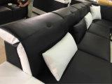 コーヒーテーブルが付いている現代黒い革ソファーのソファ