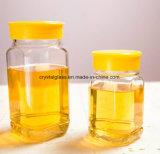 Jarra de mel de vidro quadrada com tampa de plástico