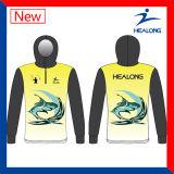 Healong Sportswear sublimation de la pêche de l'équipe de gros personnalisé Mens Jerseys Shirts