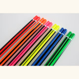 ストライプ塗りが付いているネオン鉛筆、すくいの端と、木の鉛筆のHb
