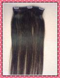 """Weave 100% человеческих волос высокого качества Зажим-в комплект цвета 8PCS выдвижениях 20 """" черный"""