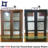 Gire a la inclinación de la madera de roble macizo Casement ventana con vidrio templado revestido de aluminio, madera de roble macizo Casement Window