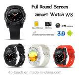 完全な円形スクリーンのSIMのカードスロットおよびカメラ(W8)が付いているスマートな腕時計の電話