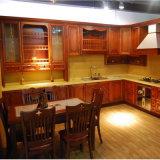Cabina de cocina roja americana de lujo clásica de madera sólida de la cereza