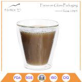 taza de cristal de la pared doble hecha a mano 8.5oz/25cl/250ml para el café/el agua con alta calidad