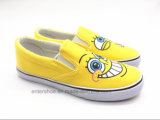 平らなかかと(ET-OW160118W)が付いているかわいい漫画のズック靴