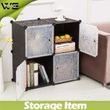 Foho- DIY Cubo de armazenamento de plástico com portas, cubo de 4, cor de flor preta (FH-AL0016-4)