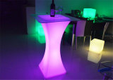 Hot Selling RGB Square LED Cocktail Table Rigeba Plastic Table Furniture LED