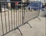 Barrière en acier de barricade/en métal d'enduit orange de poudre