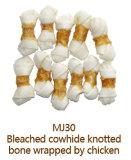 Отбеленный Cowhide завязал Chew собаки косточки