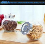kruik van het Glas van de op-verkoop de Vlakke Transparante voor Snoepje, Honing, de Opslag van het Kruid