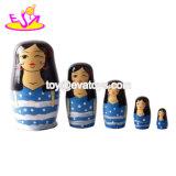 Уникальный дизайн дети деревянные куклы стекирования России для оптовых W06D086