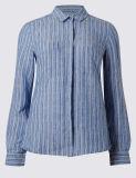 Camicia lunga a strisce del manicotto della tela pura causale