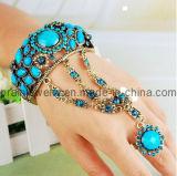 La moda de primavera de la India Nueva Pulsera de piedras preciosas de color púrpura/ conjunto de los anillos de pulsera (PB-029)