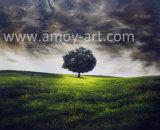 木の景色のナイフの油絵の重油および組織上の効果