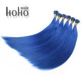 Uitbreiding van het Menselijke Haar van het Haar van de Spijker van 20 Duim van de hoogste Kwaliteit de Blauwe