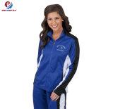 Куртка износа Cheerleading костюма следа пальто спорта самых лучших втулок надувательства изготовленный на заказ длинних голубая сексуальная для женщин