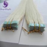 軽いブロンドの絹のまっすぐな人間のRemyテープ毛のよこ糸