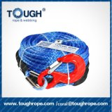 Synthetic Winch Rope-9.5mm*28m Winch Cables Blue Winch Rope with Sheath for ATV Winches ATV UTV (Tough Rope)