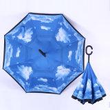 ゴルフ屋外車雨傘を、旅行防風の傘広告する、逆にされた及び逆の傘傘を広告するゴルフ