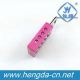 Fechamento cor-de-rosa do número do cadeado da combinação da roda do presente 4 do Natal Yh9064