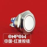 Onpow 19mm Opgepoetst Type van Drukknop van het Metaal Schakelaar (GQ19SF-10/S, CCC, Ce, Volgzame RoHS)