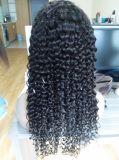 Человеческие волосы глубокого курчавого полного парика шнурка Unprocessed с волосами младенца