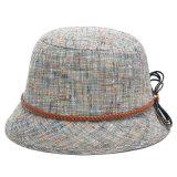 Chapeau gris de dames de lin textile de mode