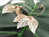 真鍮の銅の葉の葉形の模造金の女性の円のイヤリング