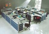 Poste de travail moderne de bureau de 4 portées avec le bureau d'ordinateur de partition en verre (OD-22)