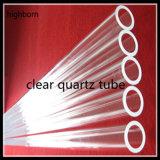 Tubo de cristal claro de cuarzo con el surtidor de la parte inferior plana