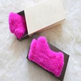 Новейшие кролик мех кожаные перчатки с насечками/зимние кожаные меховые рукавицы
