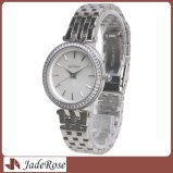 Relojes de la alineada de las señoras, reloj de plata cristalino clásico de las mujeres de la pulsera