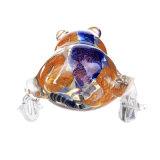Tubulação azul dourada de vidro da mão da tubulação da colher da râ da tubulação de fumo da tubulação