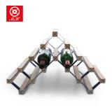 Estante de acero de madera plateado cinc del vino de Gavalized del estante de visualización del vino de 7 botellas