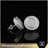 La Arabia joyas de oro Ronda Hiop Hop CZ Stud Earrings Mjce030