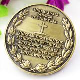Promoción barata Desafío de metal personalizados souvenirs religiosos moneda chapado en oro.