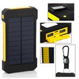 RoHS a reconnu le côté solaire imperméable à l'eau de pouvoir du téléphone 10000mAh de port USB duel avec l'éclairage LED