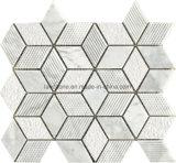 内壁デザインのためのひし形の白い灰色の自然な大理石のモザイク