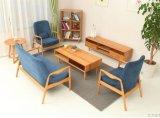 한국 단단한 나무 소파 북유럽 간단한 참나무 직물 소파 소형 거실 여가 소파 연구 결과 의자